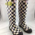 HUNTER MACKENZIE CHILDS BLACK/ WHITE COURTLY CHECK RUBBER TALL RAIN BOOTS SIZE 6