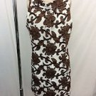 MILLY BROWN/ WHITE FLORAL PRINT SHIFT DRESS SIZE 10