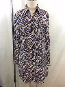 PARKER BLUE/ BEIGE/ RUST BUTTON DOWN LONG TUNIC BLOUSE SIZE XS