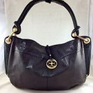 BCBG MAXAZRIA BLACK LEATHER GOLD HARDWARE FOLD OVER SHOULDER BAG