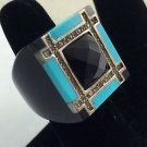 G & L Black Resin w/ Turquoise and .925 Sterling Trim Ring Size 8
