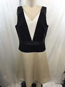 ANN TAYLOR BLACK/ BEIGE/ WHITE BLOCK V-NECK ZIP BACK DRESS SIZE 8