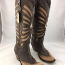 LIBERTY BLACK 711510 BROWN/ TAN LEATHER DISTRESSED WESTERN BOOTS SIZE 7.5