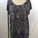 MICHAEL MICHAEL KORS BLACK/ WHITE PAISLEY SLEEVELESS OVERSIZE TOP SIZE M