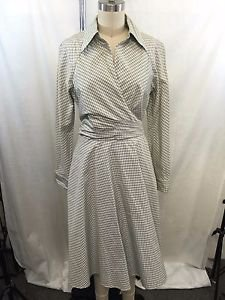 PAMELLA ROLAND NAT BEIGE/ BLUE PLAID OPEN BACK WRAP DRESS SIZE 12 RET $1650