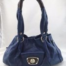 B. MAKOWSKY BLUE LEATHER BROWN WRAPPED TWO STRAP SHOUDER BAG
