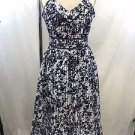 JOA NAVY/ WHITE SCATTERED FLORAL LINED EMPIRE WAIST DRESS SIZE S