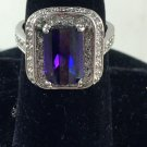 Purple stone 14k white Gold-Plated cocktail Ring Sz 8 1/4""
