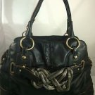 ISABELLA FIORE BLACK LEATHER HOBO BAG W/ BRASS PIPING DETAIL & SHOULDER STRAP