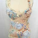 CINEMA HAUTE COUTURE BEIGE/ BLUE EMBROIDERED BUSTIER SIZE 1