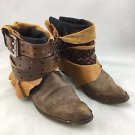 LUXURY JONES FOR FREE PEOPLE RECLAIMED VINTAGE BELT AROUND ANKLE BOOTS SIZE 7.5