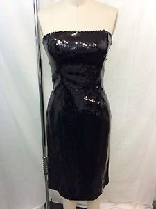 MOSCHINO CHEAPANDCHIC BLACK SEQUIN STRAPLESS COCKTAIL DRESS SIZE 8