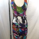 ARTELIER NICOLE MILLER MULTI COLOR WATER COLOR SHEER RUCHED DRESS SIZE 4