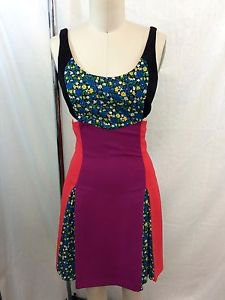 VERSUS VERSACE RED/ PURPLE FLORAL CUT OUT RUNWAY DRESS SIZE 2