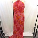 CHRISTINA PERRIN NEW YORK RED/ CORAL SILK SHIMMER HALTER GOWN SIZE 10