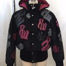 ROCAWEAR BLACK FAUX SUEDE EMBROIDERED HOODED DOWN JACKET SIZE L