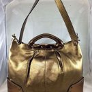 DONALD J PLINER POLLY BRONZE METALLIC LEATHER TOTE BAG W/ SHOULDER STRAP