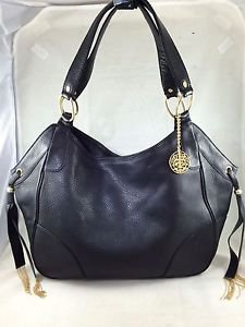 JUICY COUTURE BLACK PEBBLE LEATHER TWO STRAP SATCHEL W/ GOLD FRINGE DETAIL