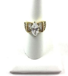 .925 Sterling Silver Gold Overlay CZ Ring Size 8