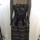 ANN LAWRENCE AT NEIMAN MARCUS VINTAGE BLACK/ GOLD BEADED GOWN SIZE 10