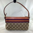 GUGGI BEIGE MONOGRAM GG BROWN LEATHER ORANGE/ PLUM STRIPE SHOULDER BAG