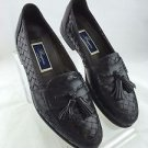 BRAGANO BLACK WOVEN LEATHER TASSLE LOAFERS SIZE 10 N
