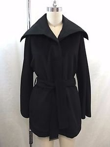 MAX MARA RAINWEAR REVERSIBLE BLACK WOOL CASHMERE/ POLYESTER BELTED COAT SIZE 4