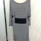 MICHAEL MICHAEL KORS BLACK/ WHITE GEO PRINT BELTED JERSEY DRESS SIZE XS