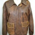 AVIREX VINTAGE BROWN DISTRESSED LEATHER BOMBER JACKET SIZE MEDIUM