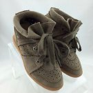 ISABEL MARANT BOBBY TAUPE SUEDE PERFORATED HIGH TOP TRAINER SNEAKERS SIZE 6