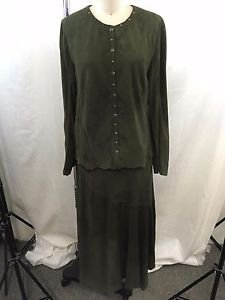 PATRICIA WOLF TEXAS GREEN SUEDE BLOUSE SIZE S / SKIRT SIZE 12 SET