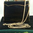 Vintage Cocco Black Bidente Croco Handbag Purse Goldtone Hardware. Excellent