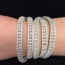 "Chan Luu  34"" Wrap Bracelet Silver Leather Clear Crystal Beads .925 Clasp"