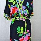 VINTAGE LEONARD PARIS FLORAL NAVY/ GREEN SILK SHIRT DRESS W MATCHING BELT