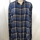 FURST OF A KIND BLUE SAPPHIRE PLAID MESH BACK FLANNEL SHIRT OVERSIZE