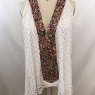 T-BAGS LOS ANGELES WHITE CROCHET OVERLAY MULTI BEADED SLVLSS TOP SIZE SMALL