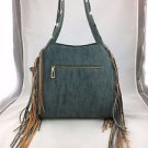 STEVEN BLUE FAUX SUEDE TAN FRINGE SATCHEL BAG