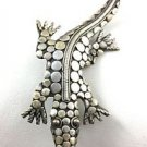 .925 Sterling Silver Lizard Design Pin Brooch