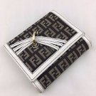 FENDI COMPACT SIGNATURE BLACK/ WHITE LEATHER TRIM TRIFOLD WALLET