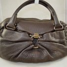 SALVATORE FERRAGAMO ANGELLO BROWN PEBBLE LEATHER ZIP TOP LARGE SATCHEL BAG