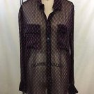 EQUIPMENT FEMME SIGNATURE BLACK/ FUSCHIA SHEER SILK BLOUSE SIZE M RETIAL $218