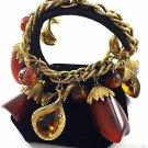 "Vintage Gold Tone Chain Bracelet Brown Resin Pieces & Beads Bracelet  6 1/2"""