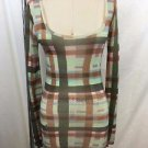 MISSONI GREEN/ PINK/ BROWN PLAID SCOOP NECK SWEATER SIZE S