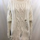 JOA CREAM CABLE KNIT DISTRESSED PARTS OVERSIZE SWEATER SIZE XS