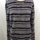 A.L.C. GRAY/ BURGUNDY STRIPED COTTON SWEATSHIRT SIZE M