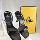 FENDI BLACK FABRIC LEATHER BEADED SLING BACK HEEL SIZE 8 M
