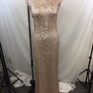 JAIME ELYSE CHAMPAGNE SEQUIN FULL LENGTH LOW BACK GOWN SIZE SMALL