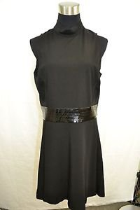 ALICE + OLIVIA BLACK VINYL BELT SLEEVELESS COCKTAIL DRESS SIZE LARGE