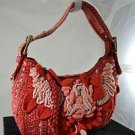 ISABELLA FIORE SALMON/ BLUSH CROCHETED LEATHER HANDBAG