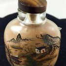 Chinese snuff Bottle Brown with Nature Scene